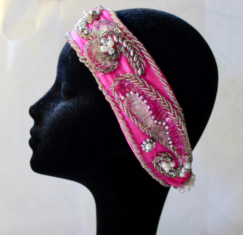 FUCHSIA FEL ROSE buikdans 'Jaren '20 luxe hoofdband haarband  - Bellydance FUCHSIA BRIGHT PINK Roaring Twenties Headband