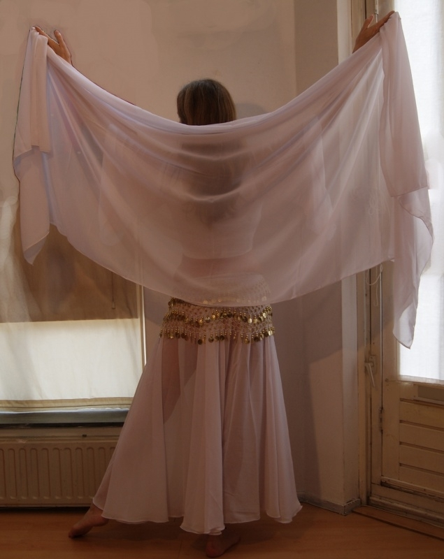 2-delig licht transparante, chiffon set Cirkelrok + sluier WIT - 2-piece set Circle skirt + veil, semi transparent, chiffon WHITE