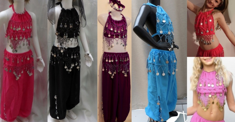 Buikdans Harem setje haremkostuum meisje / jongen 3-delig BLAUW, FUCHSIA, PAARS, ROOD, ROSE, ZWART met ZILVER : topje + HAREMBROEK - 5-8 jaar - 5-8 years old 3-piece bellydance Harem costume girls / boys : top + headband + harempants BLUE, PURPLE,  SILVER