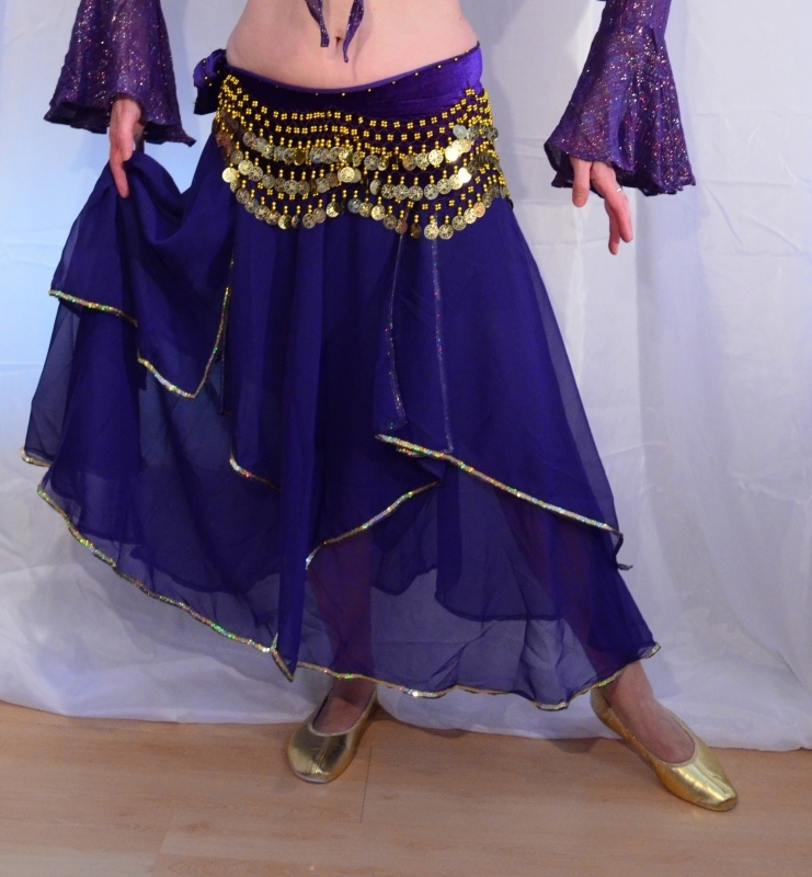 Rok orientaals tulpmodel PAARS GOUD - Small Medium - Bellydance skirt oriental tulipe PURPLE GOLD