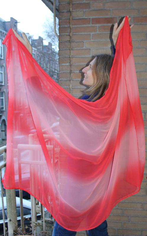 Regenboog sluier bicolor rechthoekig ROOD Small - 168 cm x 103 cm - Gradient rainbow veil rectangle RED Small