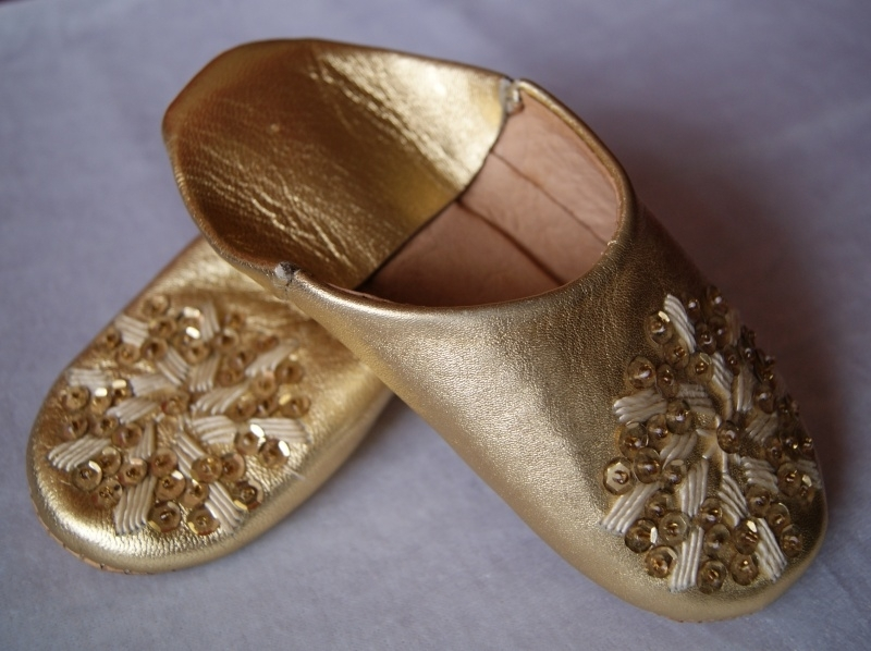 Babouches Marokkaanse slofjes meisje goud - 16,5 cm Maat 25 / 26 2-4 jaar - Babouches 16,5 cm gold for girls