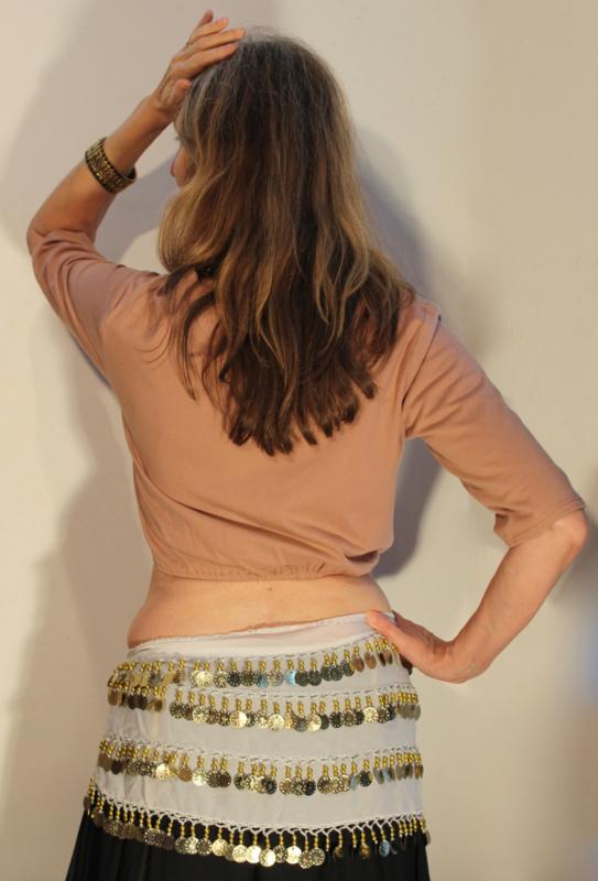 Bloesje / choli-top AARDE BEIGE / LICHT BRUIN / MOCCA kleur met elastiek onder de buste en 1/2 lange mouwen katoen - L  Large- choli-top / blouse 1/2 long sleeves EARTH BEIGE / LIGHT BROWN / MOCA BROWN cotton with elastic underbuste