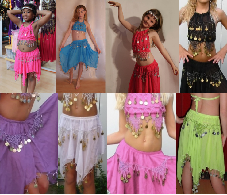 Buikdanskostuum FUCHSIA, PAARS, LIME, TURQUOISE, ROOD, BLAUW, ZWART, WIT met muntjes meisjes 3-delig : topje+ hoofdbandje + rokje (9-13 jaar) - 3-pce bellydance costume girls BRIGHT PINK, TURQUOISE, BLUE, PURPLE, RED, BLACK, WHITE : top + headband + skirt