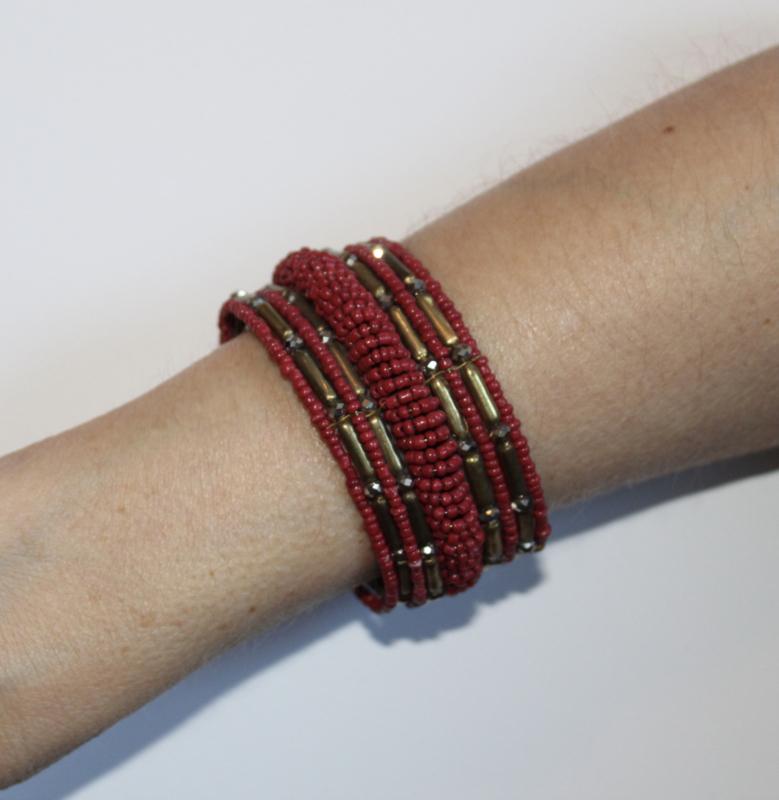 3D Armband Indian Tribal kraaltjes DONKER ROOD GOUD - one size - 3D bracelet Indian Tribal DARK RED GOLD