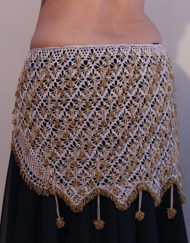 Gehaakte kralengordel WIT GOUD  - L, XL - Beaded hipbelt WHITE GOLD  - Ceinture danse orientale crochetée BLANC OR