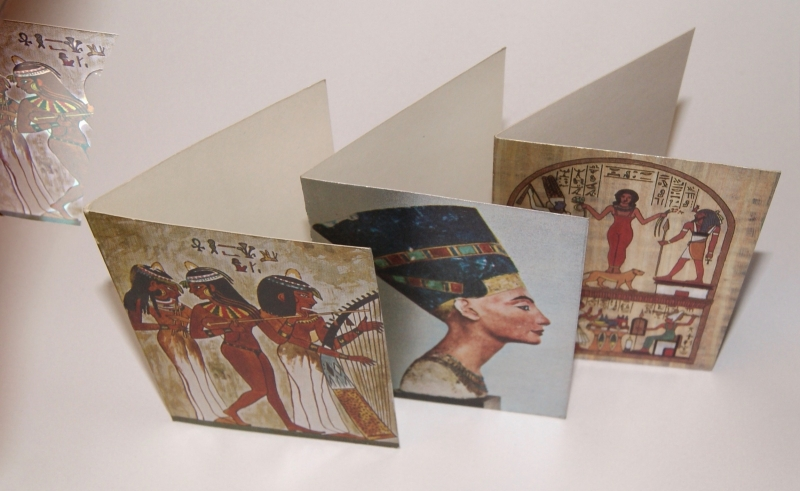 Postkaarten van Egyptische fresco's uit de konings graven  glimmend - 8,5 cm x 11,2 cm - Postcards Egyptians wall painting from the tombs Pharaonic Glowcards