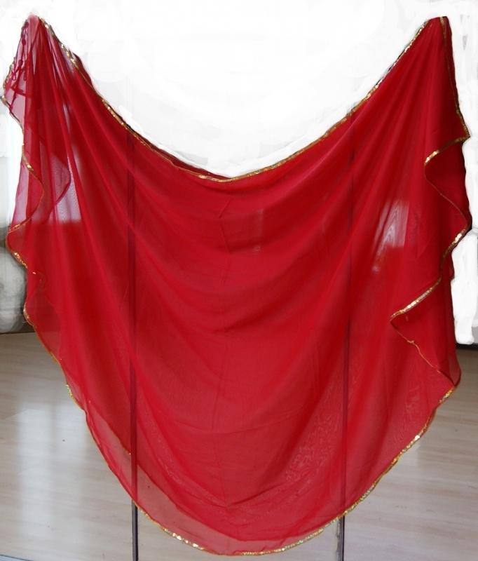 Sluier halfrond met paillettenrand ROOD GOUD - Halfcircle veil RED, GOLD sequin rimmed