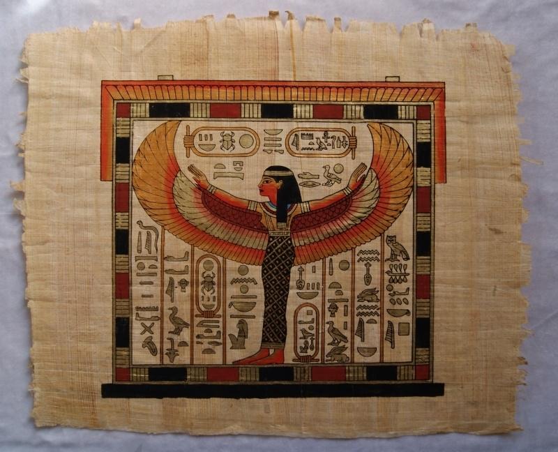 Originele Egyptische papyrus met faraonische afbeeldingen 5 Isis