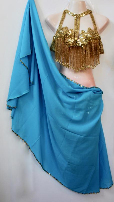 Rechthoekige sluier chiffon TURQUOISE TURKS BLAUW met ZILVEREN  paillettenrand - Rectangular veil chiffon TURQUOISE TURKISH BLUE, SILVER sequin rimmed
