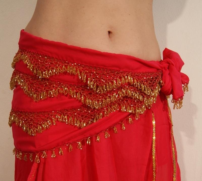 Kralengordel met haakwerk FUCHSIA GOUD - Crochet Beaded belt FUCHSIA / BRIGHT PINK GOLD