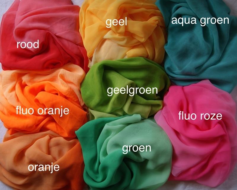 Ombré Regenboogsluiers halfrond bicolor chiffon GEEL, MINT/AQUA GROEN, FLUO ROSE, BLAUW, GEELGROEN, CYCLAAM, ORANJE, PAARS - Ombré Rainbow veils halfcircle gradient chiffon