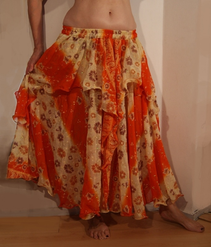 Bollywood 03 : Multicolor cirkelrok met 1 1/2 laag ORANJE ECRU beige bruin met glittertjes - 2 layer full circle skirt ORANGE OFF WHITE