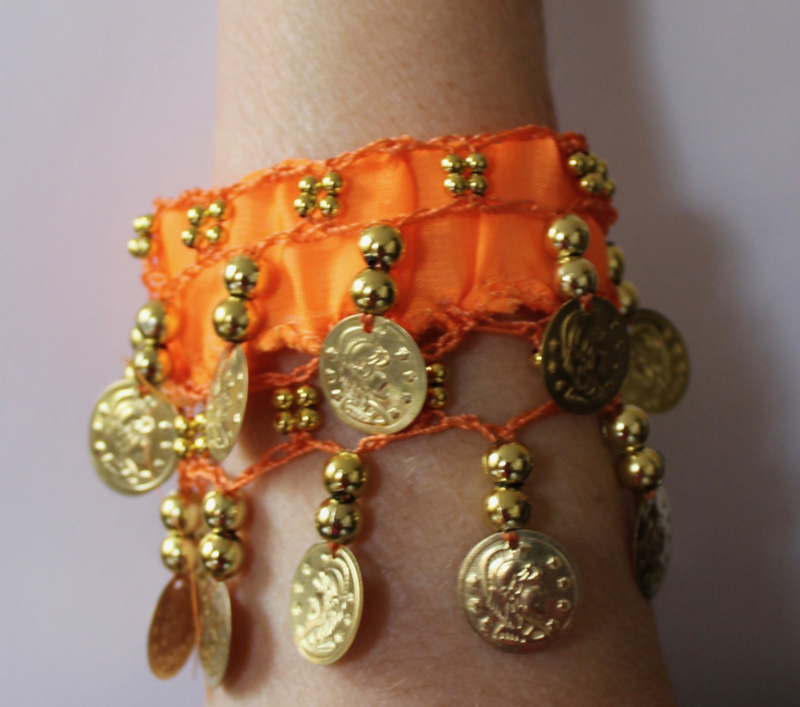 Muntjes armband ORANJE GOUD - Small Medium - Coin bracelet ORANGE  GOLD