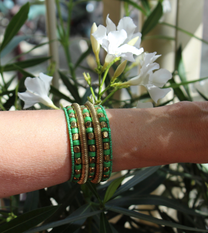 Armband Indian Tribal kraaltjes GROEN GOUD kleurig - one size - bracelet Indian Tribal GREEN GOLD color