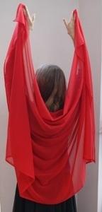 Sluier rechthoekig chiffon ROOD  - Veil rectangle chiffon RED