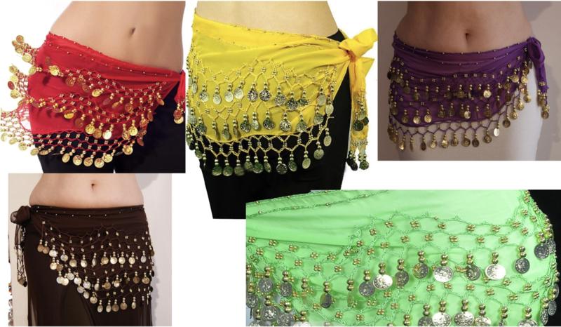 Basic Muntjesgordel - Basic belt 7  kleuren :  ROOD, FUCHSIA, GEEL, PAARS, ROZE, WIT, ROZE  - Basic bellydance hipbelt 7 different colors