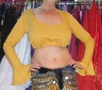 Kort oefentopje / bloesje / choli-top stretch katoen SAFFRAAN kleurig GEEL - L Large, Extra Large XL, XXL - Short workout top / blouse / choli-top stretch cotton SAFFRON GEEL