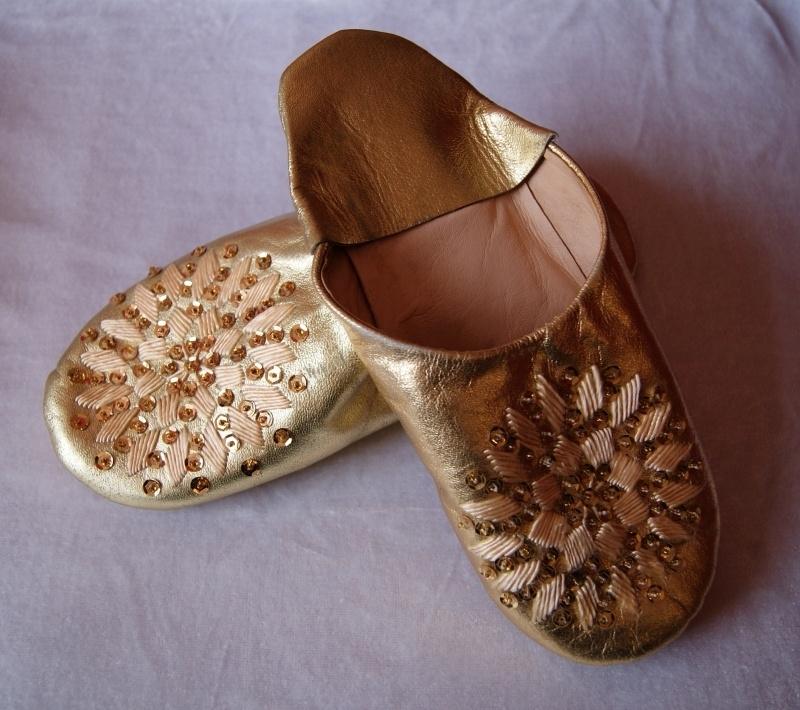 Babouches dames pailletten en kralen 23 cm, goud - maat 35, 36 - Babouches ladies gold 23 cm