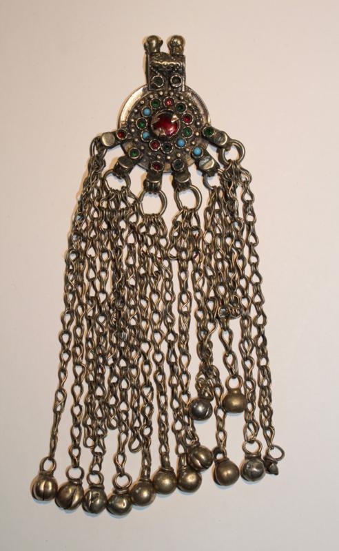 Pendant met  filigraan, RODE, GROENE en BLAUWE glaskralen ingelegd + belletjes - Vintage Pendant5 - Pendant with philigrane work, RED, GREEN and BLUE glass stones inlay + bells