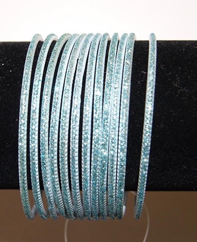 """Frozen"" Armbandjes setje van 8 ZACHT BLAUWE glinster armbandjes Meisjes - XS S Extra Small Small - ""Frozen""  8-piece glitter bracelet set  SOFT BLUE Girls"