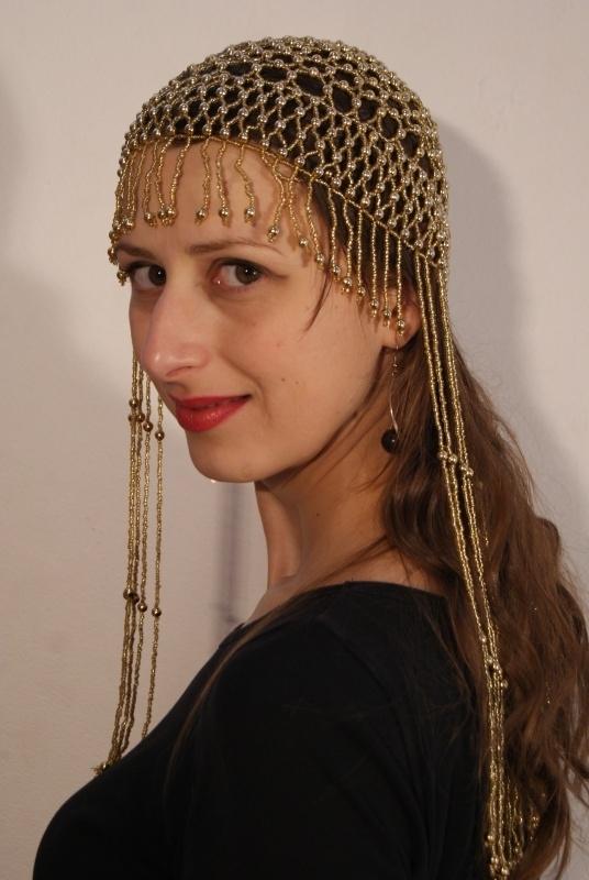 Kralen hoofddeksel kralen mutsje GOUD  Cleopatra - Beaded cap Cleopatra GOLD