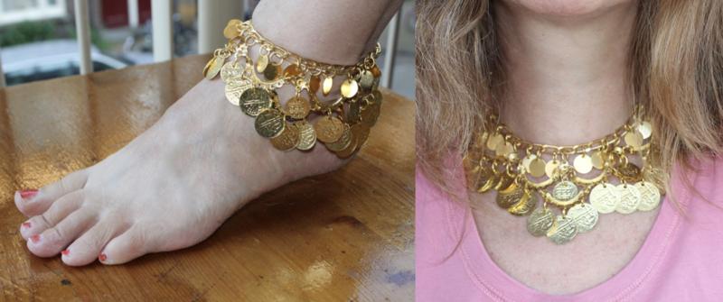 Choker Halssnoer / Enkelbandje de luxe met boogjes en muntjes GOUD kleurig - 34-35 cm - Choker Necklace / Anklet, arcs and coins decorated GOLD color