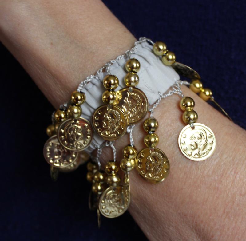 Muntjes armband GRIJS  GOUD - Small Medium - Coin bracelet GREY GOLD