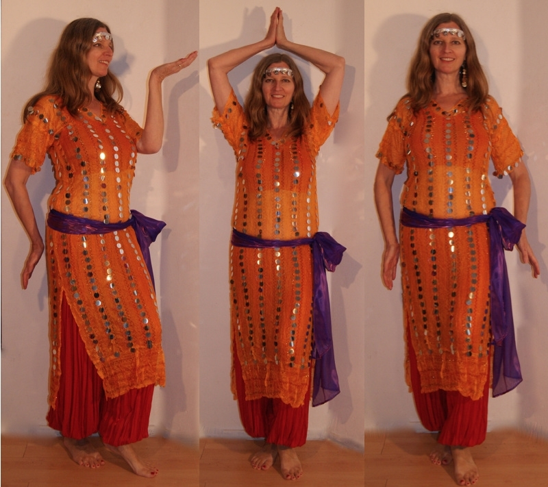 3-delig Cleopatra ensemble : transparante netjurk/tuniek oranje-GEEL met zilver + bijpassend heupsjaaltje + hoofdbandje met muntjes - S M L XL - 3-piece Cleopatra set : transparent net dress orange-YELLOW with silver + matching hip shawl + head