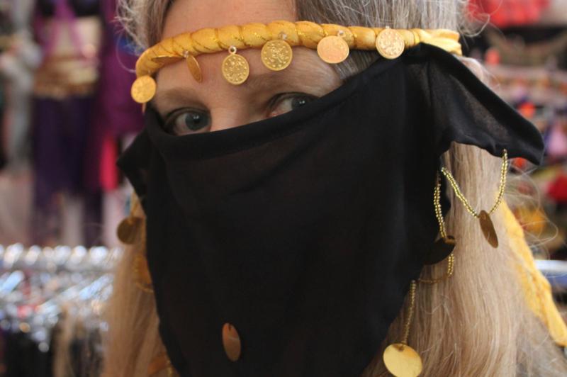 Gezichtssluier harem sluiertje ZWART GOUD - Harem veil BLACK GOLD