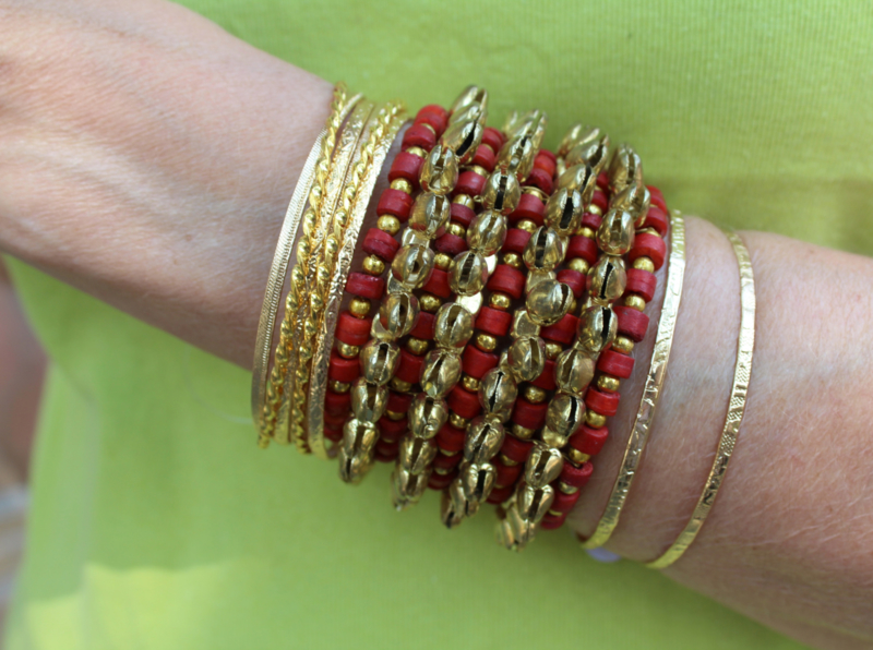 Tribal Fusion Indische Kathak stijl armband vol belletjes en kraaltjes ROOD GOUD - Indian Tribal Fusion Kathak style beaded bracelet RED GOLD, filled with bells