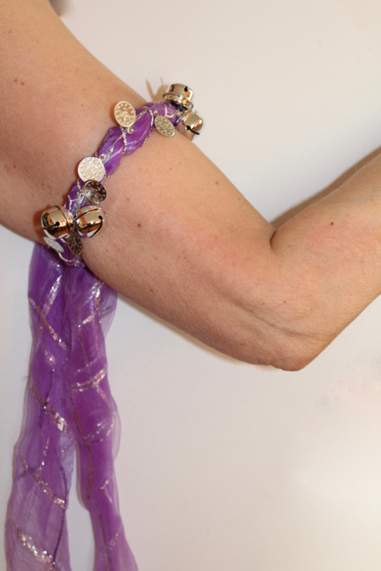 Enkelband / Armband / Hoofdband met muntjes en belletjes buikdans, Afrikaanse dans LILA PAARS ZILVER - EXTRA Bells - Anklet / Bracelet / Headband Bellydance, African dance LILAC PURPLE SILVER