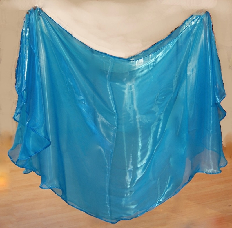 Glimsluier rechthoekig TURQUOISE TURKOOIS BLAUW- 210cm x 105cm - Veil with a glow TURQUOISE BLUE rectangle