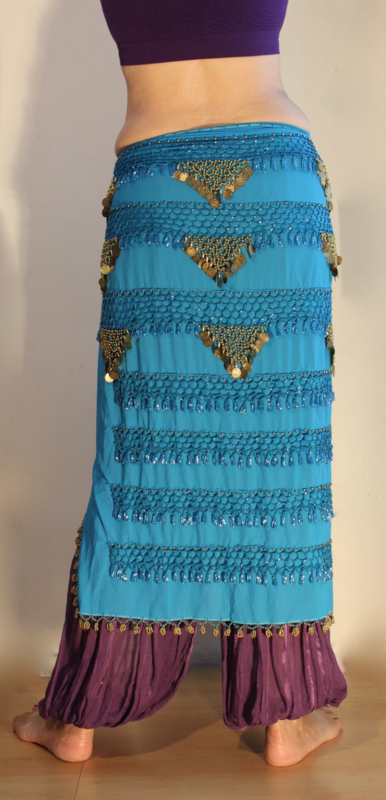 Sarong gordel met kralenhaakwerk TURQUOISE BLAUW, versierd met GOUD - Extra Large XL, XXL, XLong - Sarong hipshawl hipscarf TURQUOISE BLUE, Egyptian handycraft, crocheted decorated with  GOLD
