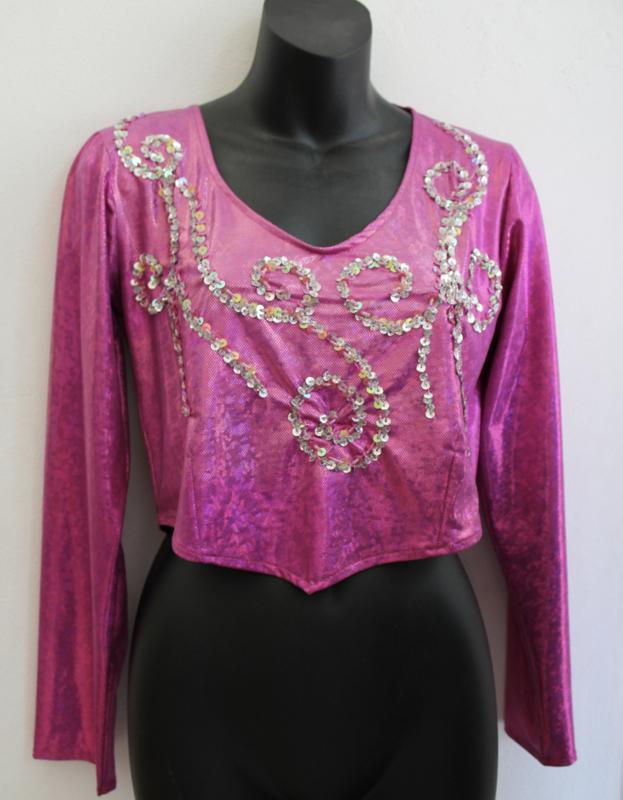 Glimtopje FEL ROZE met lange mouwen, versierd met ZILVEREN kralen en pailletten - one size - Shiny top BRIGHT PINK, SILVER beads and sequins decorated