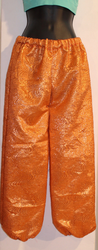 Harembroek KOPER ORANJE glimstof met dessin  - (Extra) SMALL - harempants ORANGE BRASS COLOR