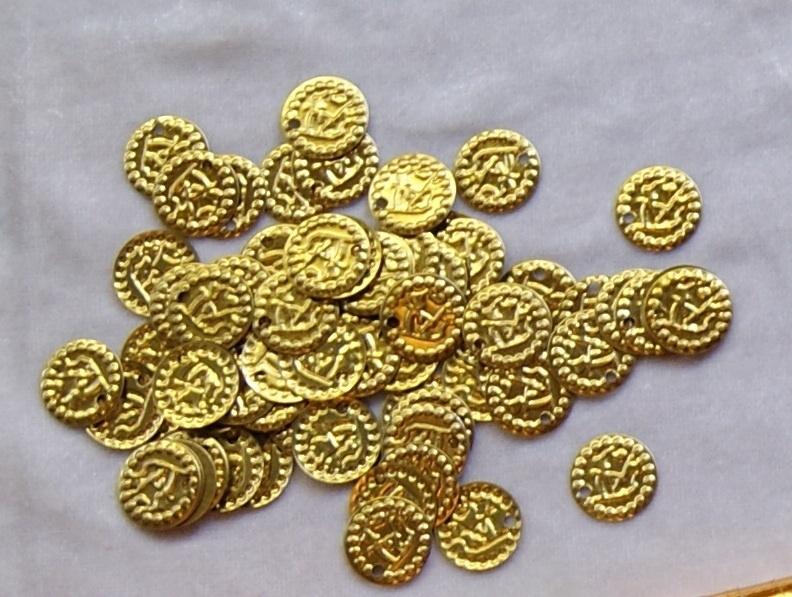 Losse Goudkleurige metalen muntjes - 18 mm diameter - Loose Metal coins GOLD color