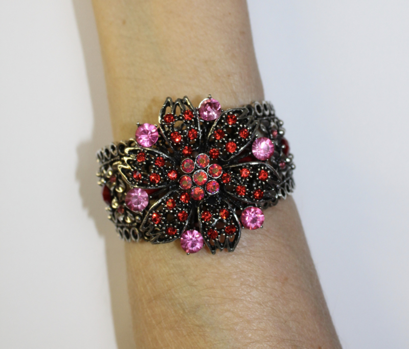 """Crystal sparkle glitter metalen frame armband """"Bloem 3"""" ROOD ROZE ZILVER - Strass metal frame bracelet  """"Flower 3"""" RED PINK SILVER diamanté"""