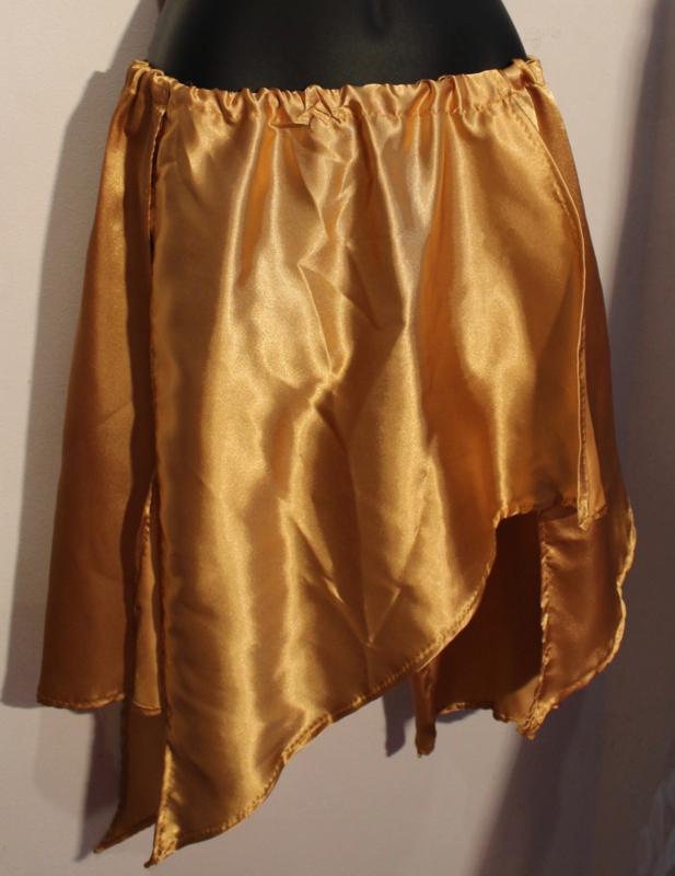 Asymmetrisch punten rokje GOUD satijn - one size - Asymmetrical satin points skirt GOLD