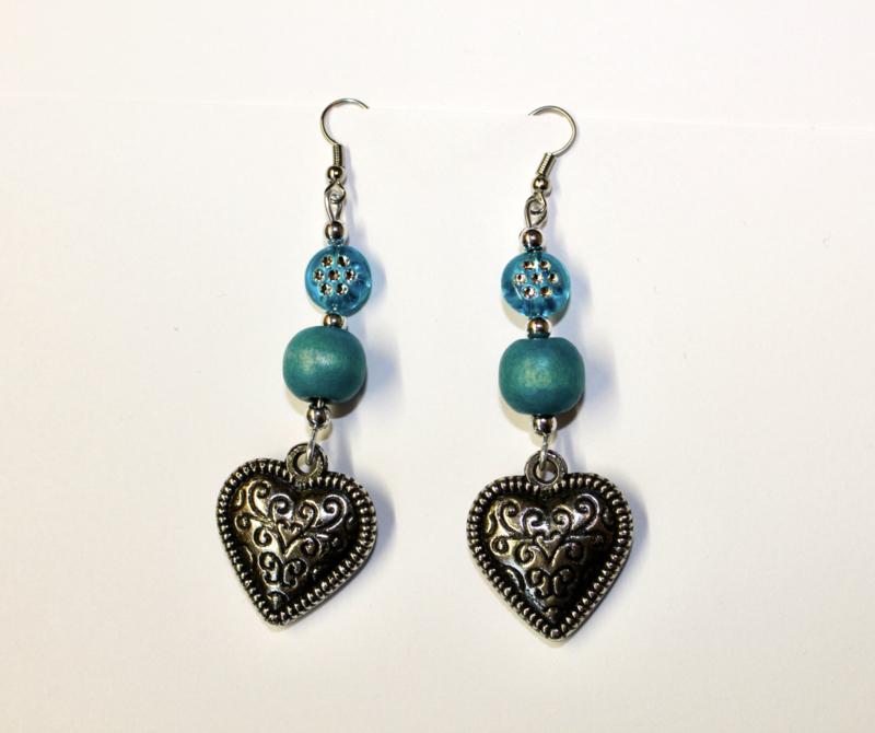 Lichtgewicht hartjes oorbellen ZILVER kleurig met TURQUOISE - Zilver3 - Lightweight hearts earrings TURQUOISE and SILVER colored