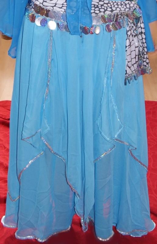 Rok Orientaals tulpmodel TURQUOISE BLAUW zilver - Small Medium - skirt Oriental tulip TURQUOISE BLUE silver
