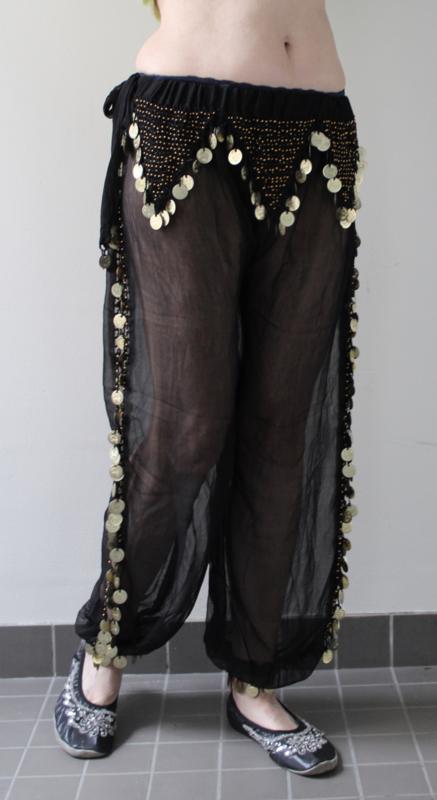 Harembroek chiffon transparant ZWART met zijsplit, haakwerk en GOUDEN muntjes - fits 38/40 - Harempants transparent BLACK, GOLDEN coins side slits crocheted decorated