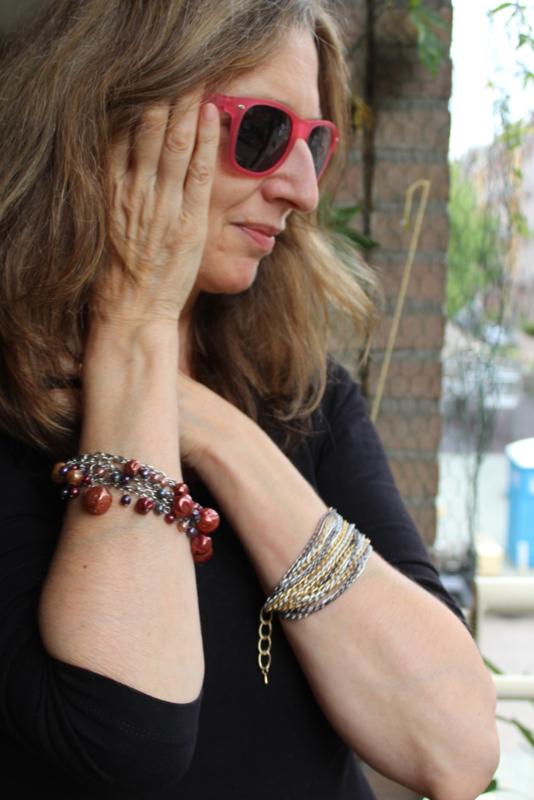 15-kettingen Armband ZILVER GOUD GRIJS -15-chains bracelet GOLD SILVER GREY