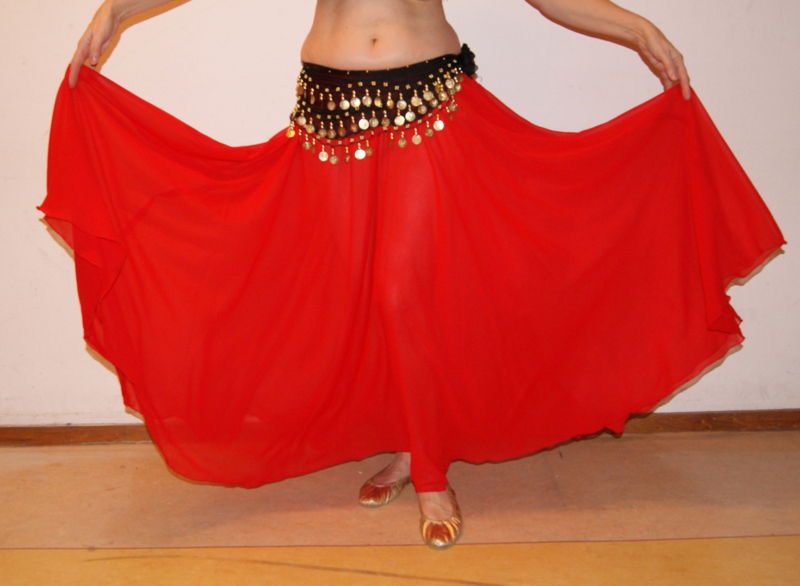 Cirkelrok chiffon ROOD licht transparant - Long M/L/XL - Full Circle skirt RED slightly transparent