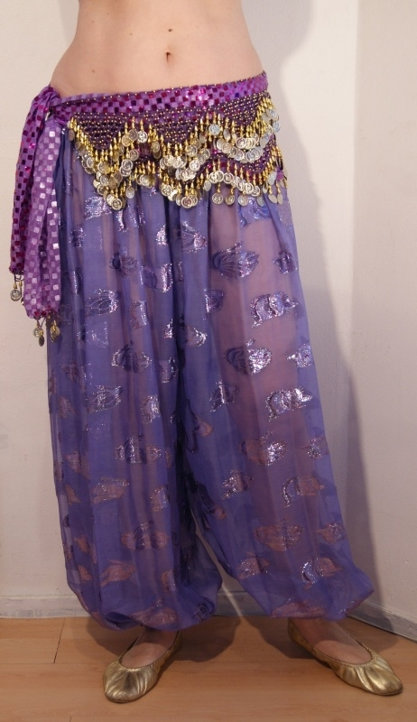 Harembroek chiffon LILA / LICHT PAARS - one size - Harempants chiffon SOFT PURPLE with shiny design