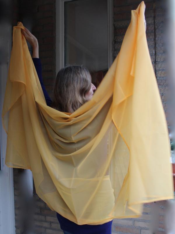 2-delige sluier set : Sluier chiffon rechthoekig Oranje-GEEL + langwerpige sjaal  - 2-piece Veil set : Veil rectangle chiffon Orange-YELLOW + long shawl