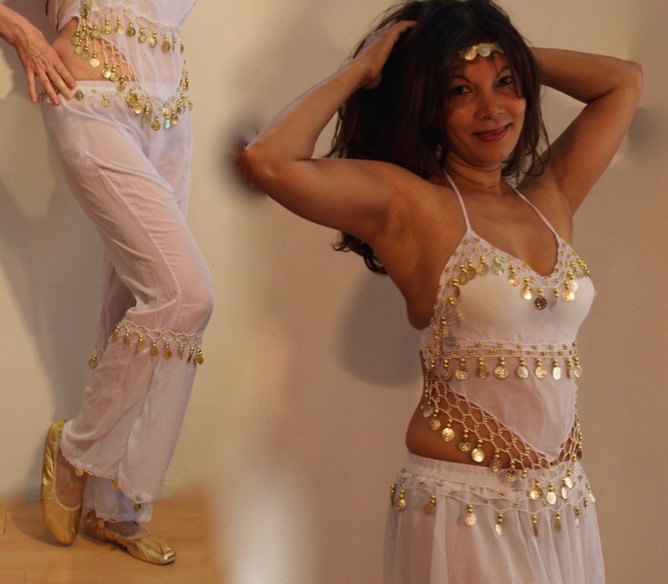 Dames Harem set transparant WIT GOUD 3-delig : top + broek + hoofdbandje- 3delig - XS, S, M 34/36/38 - 3-piece Harem costume SHEER WHITE GOLD