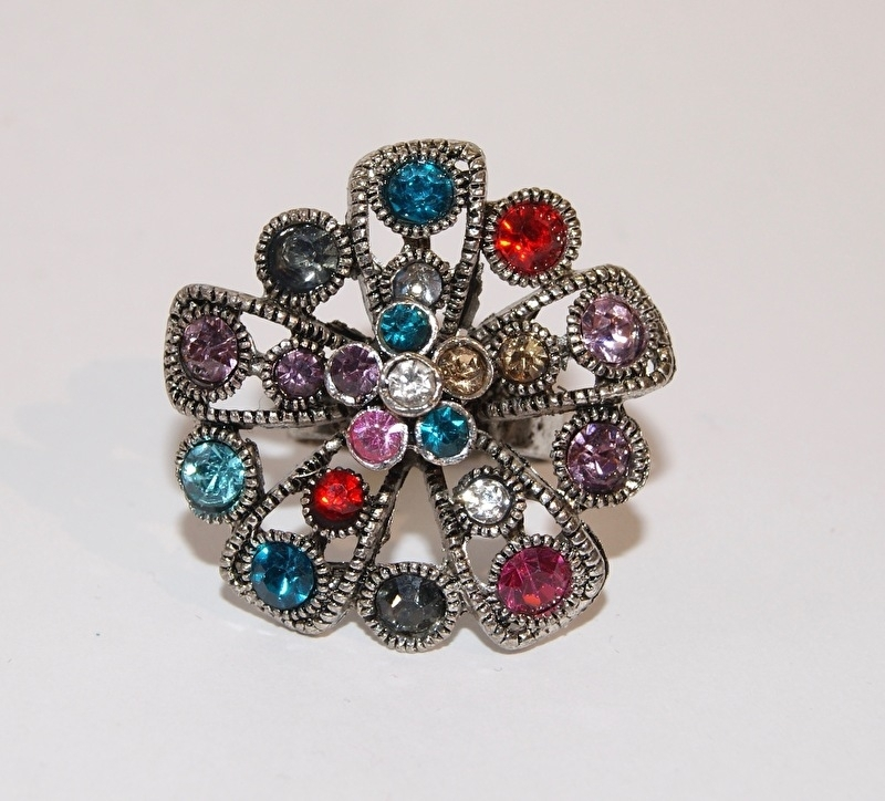 """Ring met glinstersteentjes """"Rozet 1 """" multicolor - one size - Ring with glittering stones """" Rozet 1"""""""