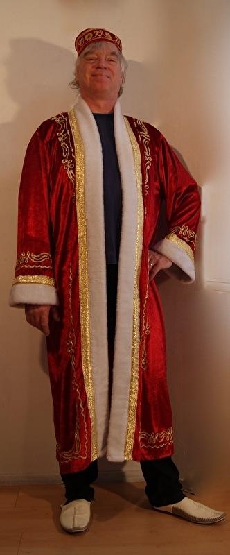 Sultan / Sheik / Sjeik luxe harem jas ROOD met WITTE kunst bont rand -  one size  - Sheik overcoat de luxe RED  WHITE artificial fur rimmed
