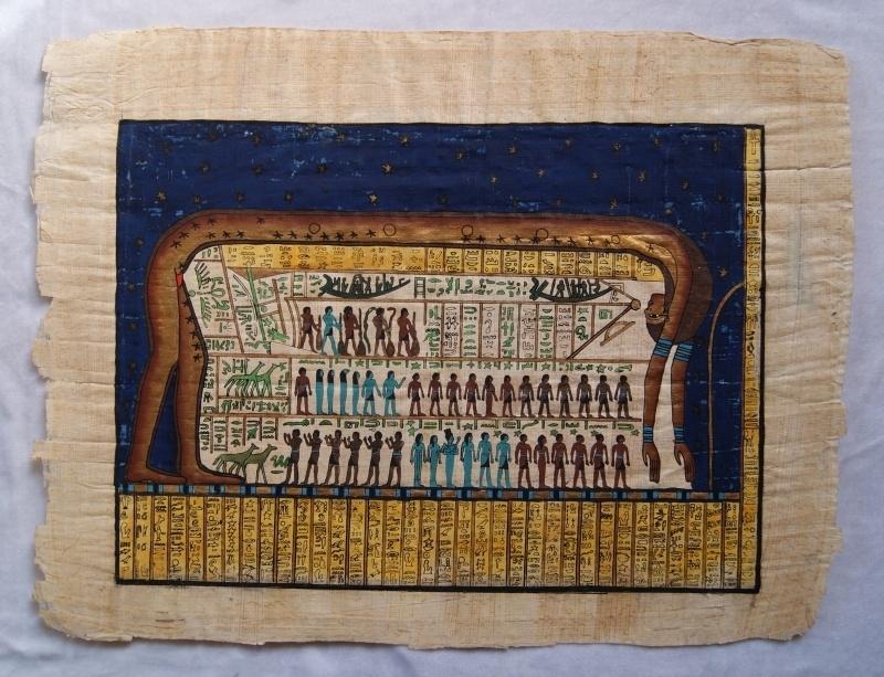 Originele Egyptische papyrus met faraonische afbeeldingen 8 godin Noet Nuit